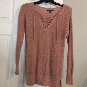 American Eagle tie neck dusty rose sweater XS